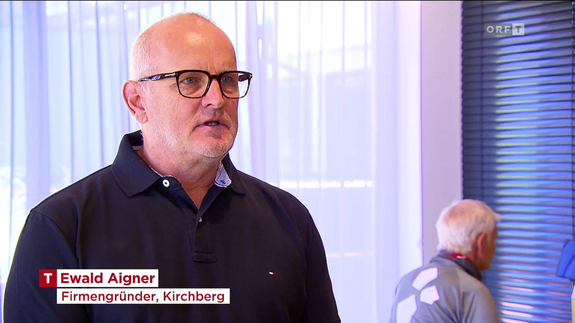 MFT Firmengründer Ewald Aigner spricht im TV Beitrag von ORF Tirol über die MFT Balance-Produkte
