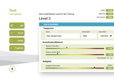 Testergebnis in der Bodyteamwork App